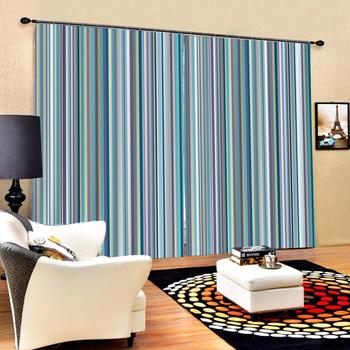 blue stripe curtains Customized size Luxury Blackout 3D Window Curtains For Living Room