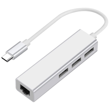 HOT-USB-C to Ethernet Adapter with 3 USB Port, Type C Hub with RJ45 Ethernet Network MUltiport 4-In-1 (A, Silver)