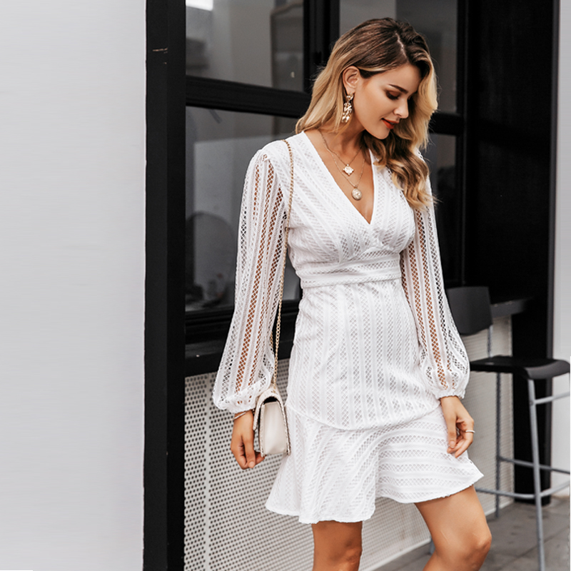 Elegant V-Neck Geometric Hollow Out White Dress 3