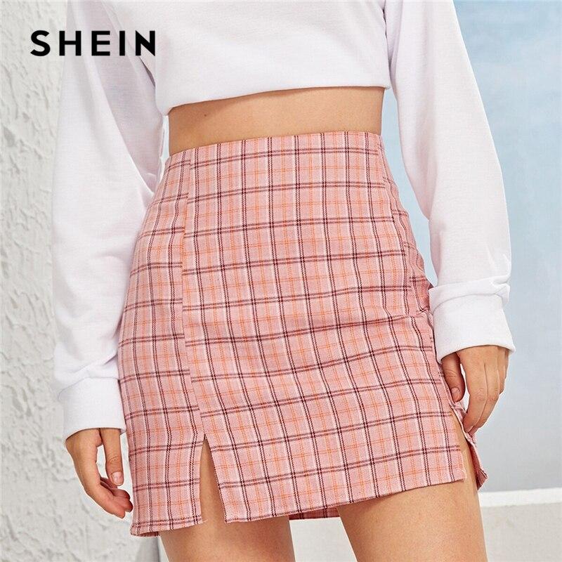 SHEIN Plaid Side Slit Bodycon Mini Skirt Women Bottoms 2019 Autumn Streetwear Casual A Line Basic Ladies Sheath Skirts 2