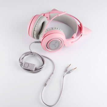 SOMIC G951s Pink Girl Cat Ear Gaming Headphone 3.5mm Plug Cute Headset for PC Xbox one PS4 Phone Pad Girl Kids Gaming Headset 6