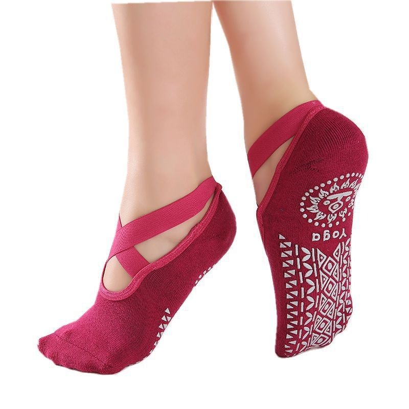 New Women Yoga Anti-slip Socks Backless Silicone Non-slip Socks Ladies Ventilation Ballet Dance Gym Fitness Pilates Cotton Socks