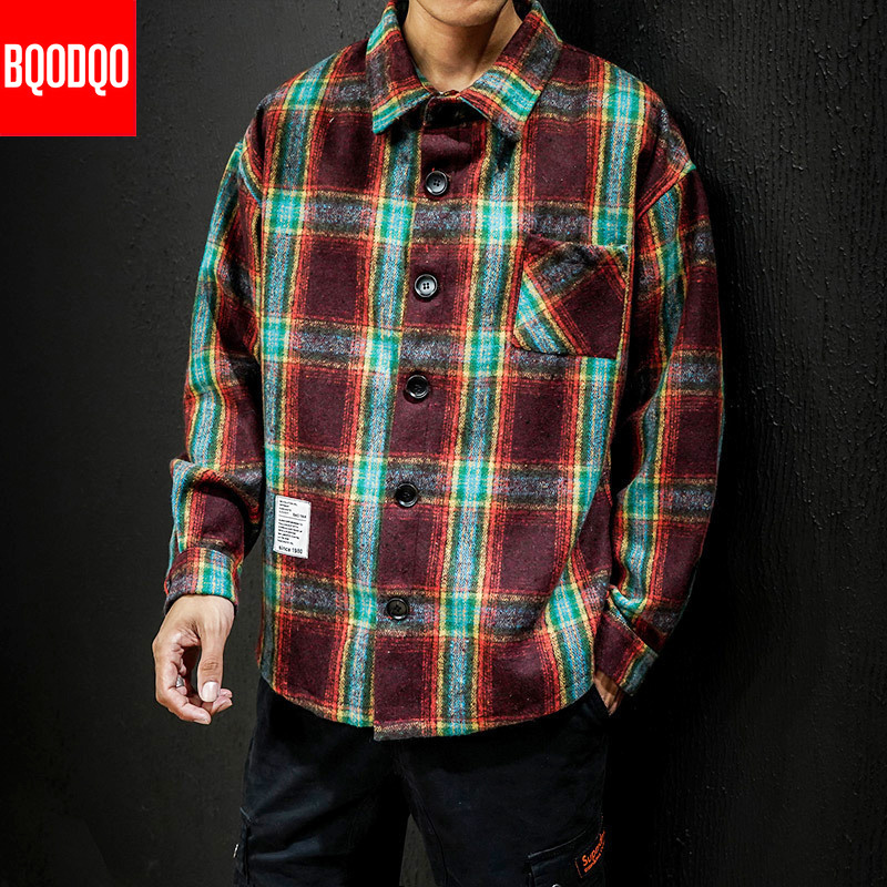 5XL Flannel Casual Shirt Men Winter Blue Thick Plaid Streetwear Fashion Military Blouses Male Japanese Long Sleeve Fleece Shirts