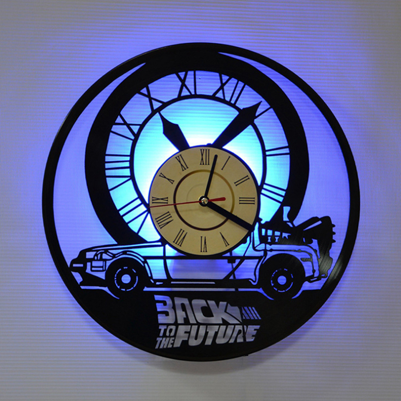 Back To The Future  3D Art Vinyl Record Clock With Light  Gift Room Creative Antique Home Decoration LED Wall Clock