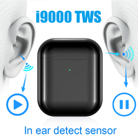 Original i9000 tws 1:1 Aire 2 Smart Sensor Pop Up Earbuds Black Wireless Charging Bluetooth Earphones pk H1 Chip i200 i500 tws