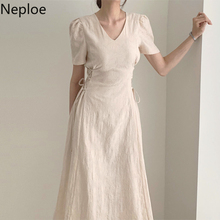 Neploe Korean Style Temperament Dresses Solid V-neck Short Puff Sleeve Bandage Vestidos 2021 Summer Elegant Fashion Dress 1B802