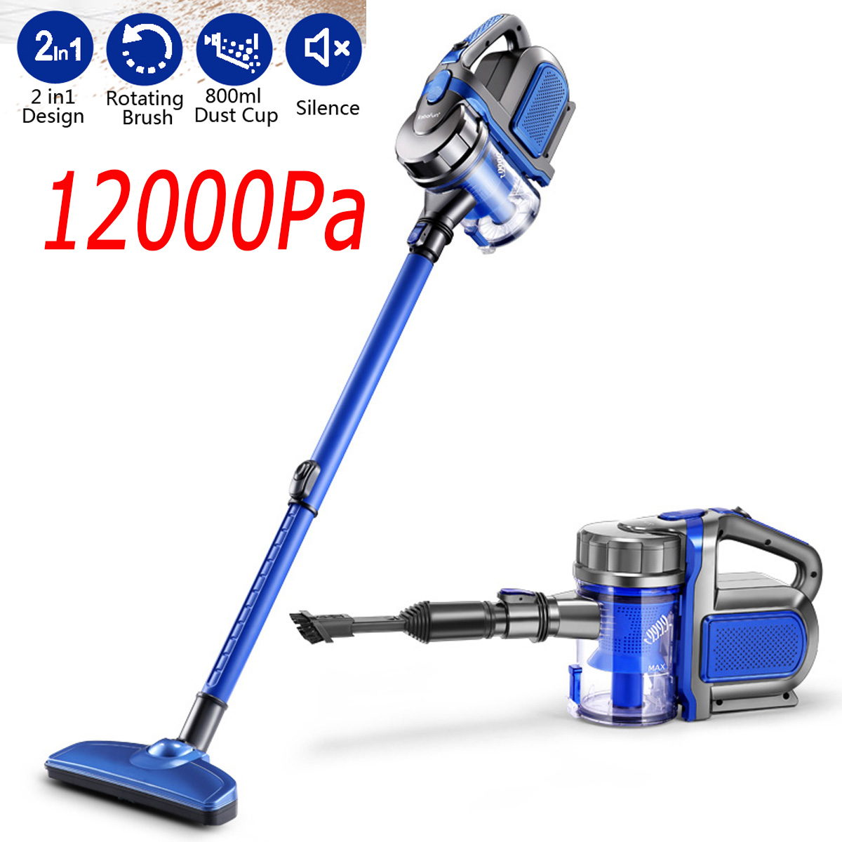 2 In 1 Handheld Cord Vacuum Cleaner Cyclone 12000Pa Strong Suction Dust Collector Handheld Vacuum Cleaner