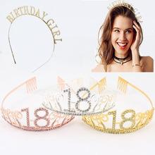 Dekoracja urodzinowa 18 21 30 40 50 różowe złoto kryształ diadem urodziny dziewczyna przyjęcie rocznicowe dostaw tanie tanio POLIESTER STOP WOMEN Dla osób dorosłych