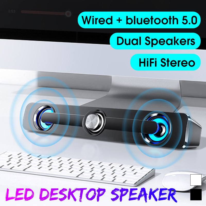 Sound Bar AUX USB Wired/Wireless bluetooth Home Theater FM Radio Surround HiFi Stereo Bass Subwoofer SoundBar Speaker for PC