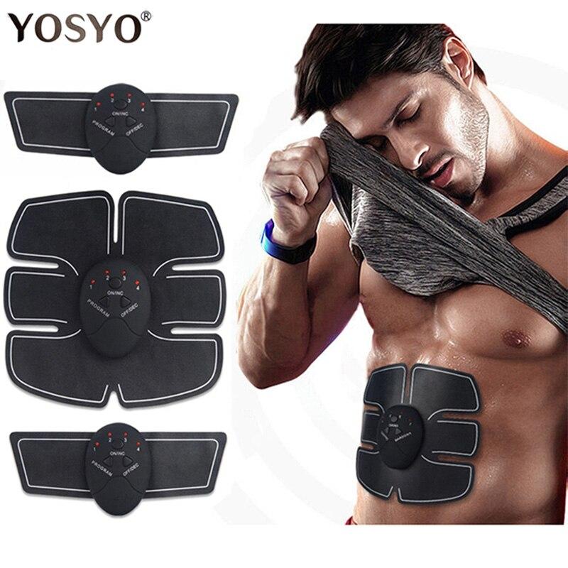 Стимулятор мышц EMS беспроводной унисекс, тренажер для мышц пресса электрический для снижения веса со стикерами, пояс для похудения