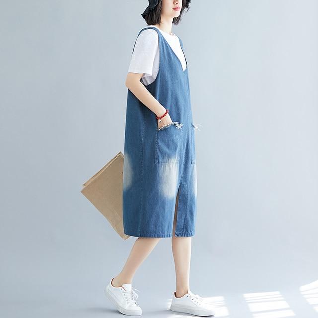 #2470 Vintage Casual Denim Dress Women Plus Size Loose Tank Top Blue Jeans Dress Sleeveless Split Large Size Big Pockets Summer