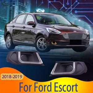 Daytime LED Driving Light for Ford Escort 2018-2019 DRL 3 color Fog Light 6000K White Turn Yellow Day Light 2pcs
