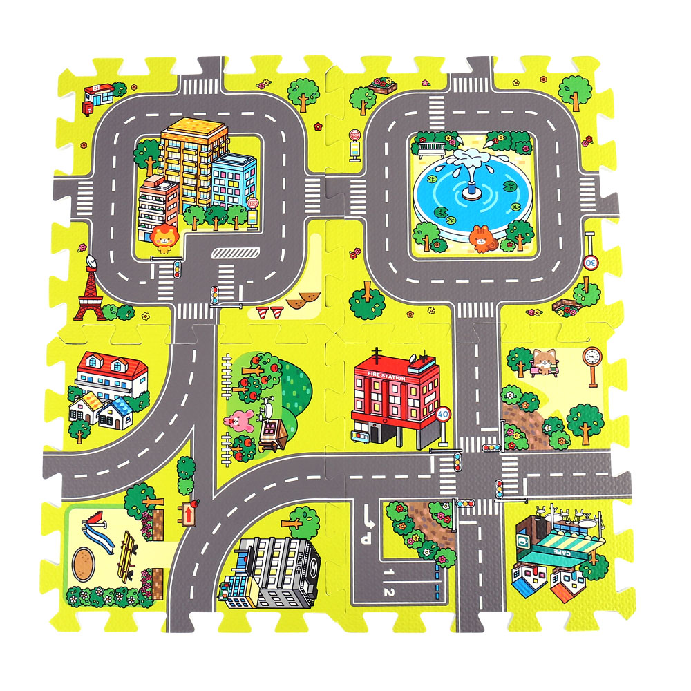 9pcs Baby Play Mat EVA Foam Puzzle Play Floor Pad No Edge Mat Road Carpets Puzzle Education Play Mat Baby Split Joint Indoor