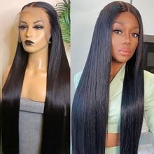 Peluca de cabello humano liso de 13x4 para mujeres negras, 28 y 30 pulgadas, brasileña, prearrancada, de bebé, 360 de encaje Frontal, Remy