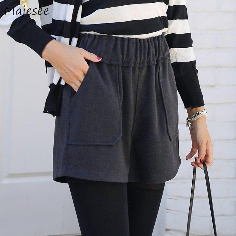 Шорты с высокой талией для женщин, черные однотонные повседневные облегающие шорты размера плюс с карманами, Женская корейская мода Harajuku