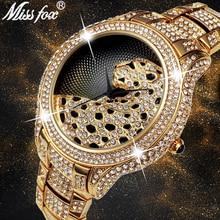 цена Missfox Watch Men 18k Gold Luxury Diamond Black Simple Leopard Classic Business Quartz Men's Wristwatch Clock Best Selling 2019 онлайн в 2017 году
