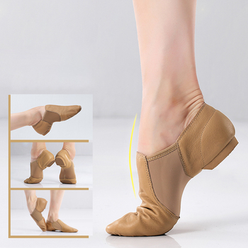 Genuine Leather Jazz Dance Shoes Tan Black Antiskid Sole Jazz Shoes High Quality Adults Dance Sneakers For Girls Women цена 2017