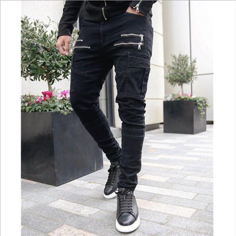 2019 Autumn Men Cargo Pants Hip Hop Harem Joggers Pants New Male Trousers Mens Solid Multi-pocket Pants Skinny Fit Sweatpants