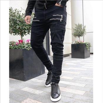 2019 jesień mężczyzna Cargo spodnie Hip Hop Harem biegaczy spodnie nowe męskie spodnie męskie solidne spodnie z wieloma kieszeniami spodnie Skinny Fit spodnie dresowe tanie i dobre opinie Cargo pants Na co dzień REGULAR Suknem COTTON NONE Midweight 28 - 32 Sznurek Pełnej długości Mieszkanie