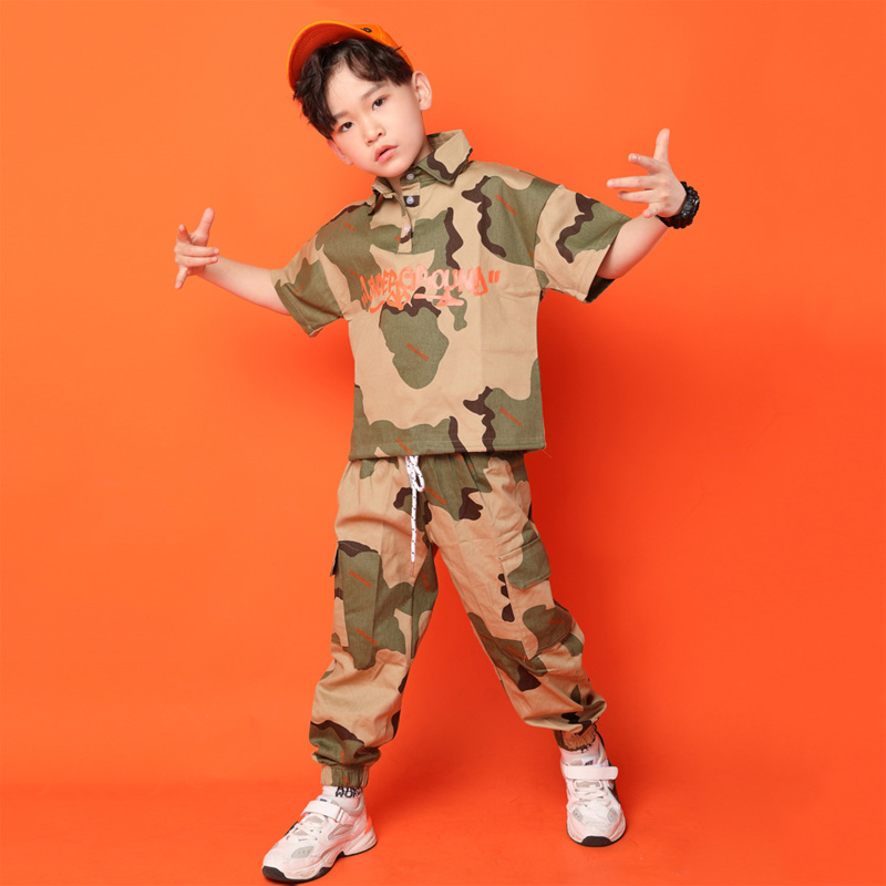 Jazz Dance Costumes For Children Short Sleeve Tops Camouflage Pants Children Hip Hop Costume Kids Street Dance Clothing