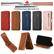 Luxury Zipper Flip Leather Case For XIAOMI MI 9T Pro Mi9T Wallet Book Cover Xiaomi Mi A3 A 3 cc9e Mi 10 Pro 5G 9 cards Slots Bag ven a mi