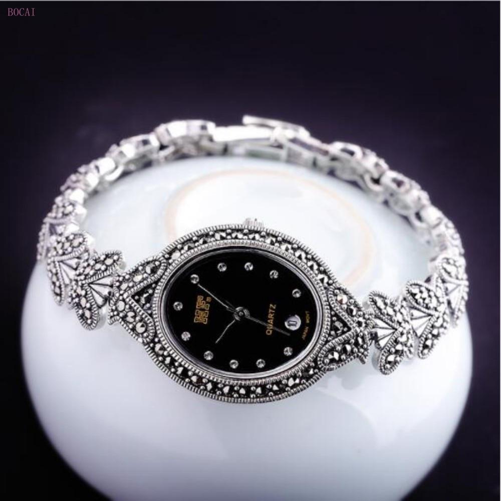 Zilver 925 S925 sterling zilveren armbanden voor vrouwen 2019 nieuwe stijl mode sieraden handgemaakte vlinder retro Horloge armbanden - 5