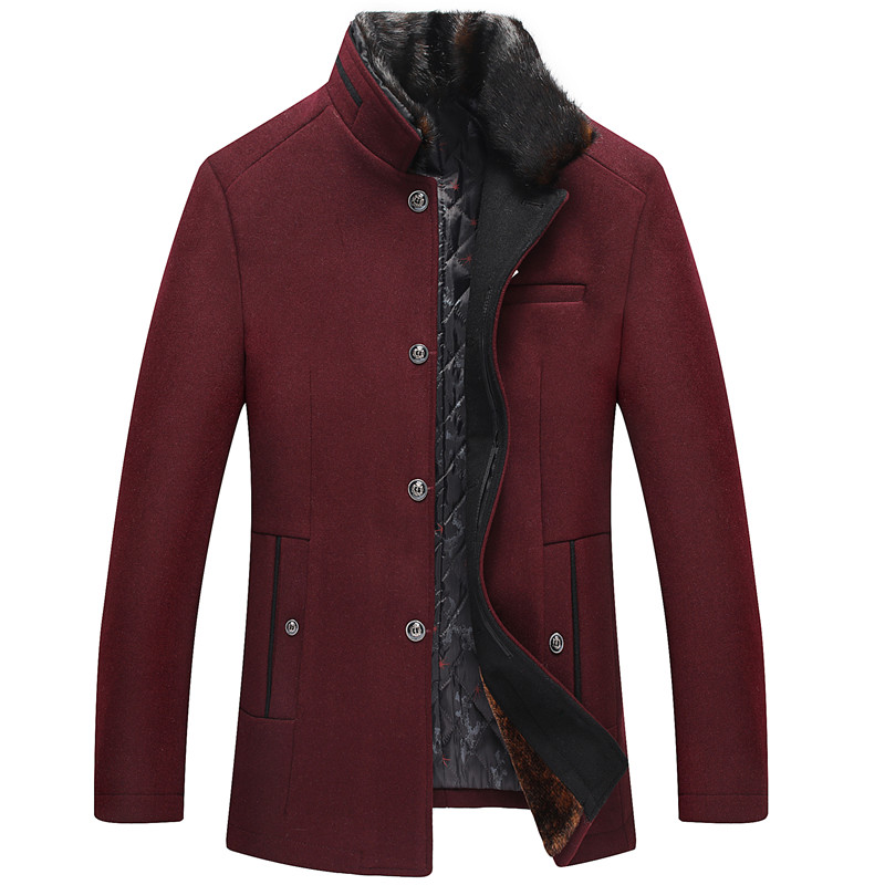 Thick-Fur-Collar Coat Male Wool Jacket Long-Wool Casual Autumn/winter High-Quality Warm