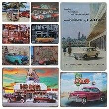 30X20cm Retro Cuba marca coche hojalata letreros moteles Vintage decoración placa para Bar estación regalo cartel decorativo Panel de pared de Metal H25