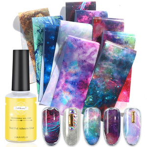 10pcs Starry Sky Nail Foil Set Transfer Glue Holographic Gradient Galaxy Star Adhesive Sticker Decal Slider Manicure Decor LA975