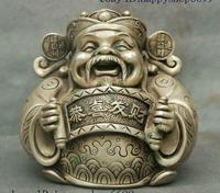 5 Old Chinese Taoism Temple Silver Mammon Money Wealth God Coin Clothes Statue