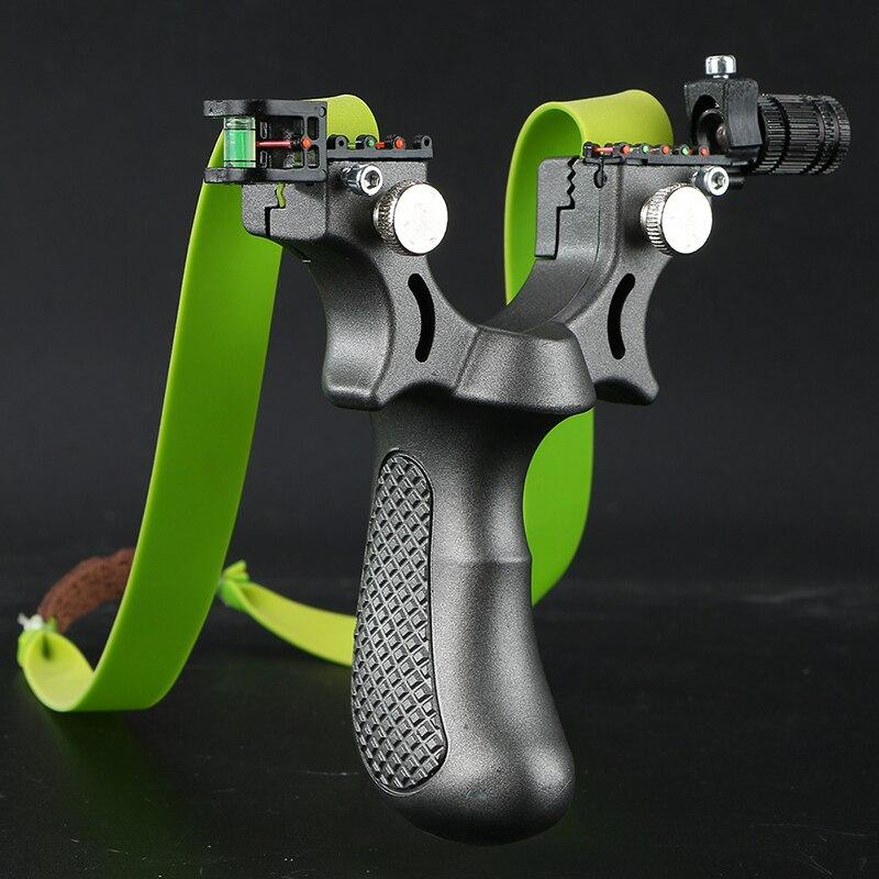 Poderosa faixa de borracha estilingue caça com 100 bolas de aço estilingue profissional arco rápido ao ar livre especial para a caça