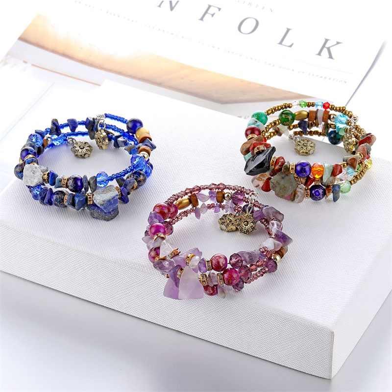 Marca Mulher Boho Multilayer Beads Charme Pulseiras para As Mulheres Presente Vintage Resina Pedra Pulseiras & Bangles Pulseras Jóias Étnicas