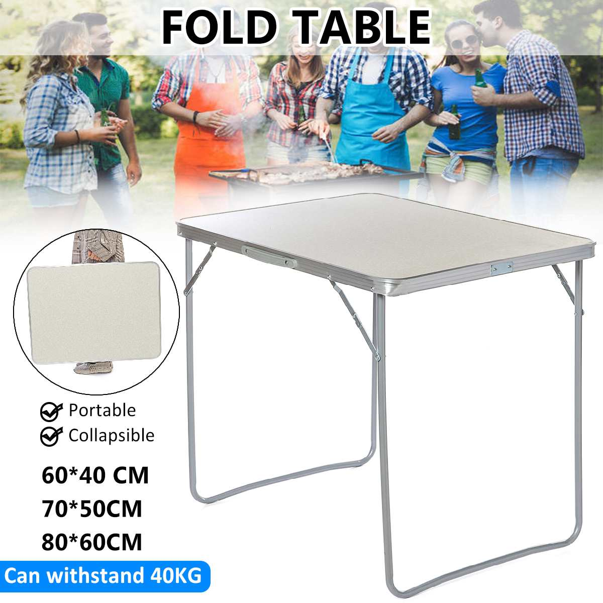 3 Size Portable Folding Table Aluminum Laptop Table Dining Outdoor Camping Picnic Beach Desk