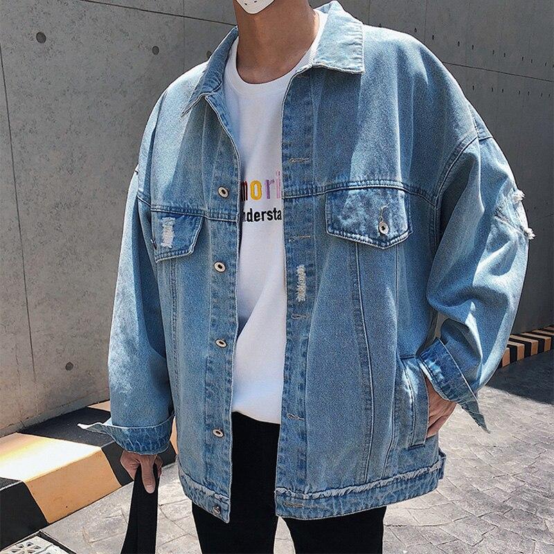 2019 Autumn Streetwear Brand Outerwear Mens Denim Jacket Cotton Blue Black Cowboy Loose Korean Fashion Jeans Men Jacket M 2XL in Jackets from Men 39 s Clothing