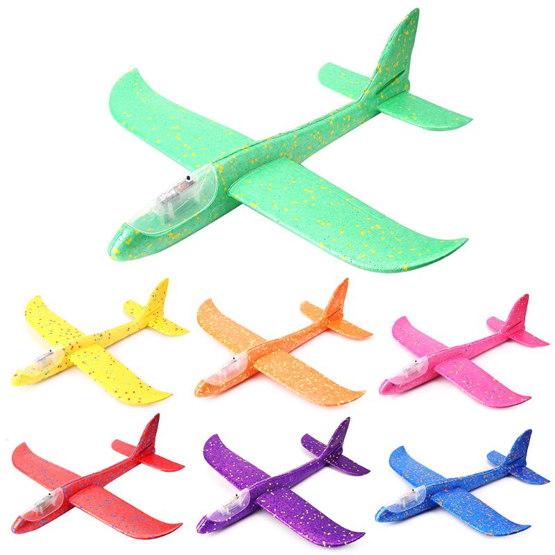 LED Night Airplane Hand Launch Throwing Glider <font><b>Aircraft</b></font> Inertial Foam Airplane Toy Plane <font><b>Model</b></font> Outdoor Educational Toys R7RB image