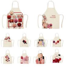 1Pcs Kitchen Apron Color nail polish bottle Printed Sleeveless Cotton Linen Apro