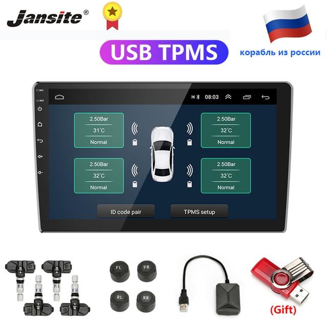 Jansite usbアンドロイドtpms車のタイヤ空気圧警報監視システム4つのセンサと車両androidプレーヤー温度警告