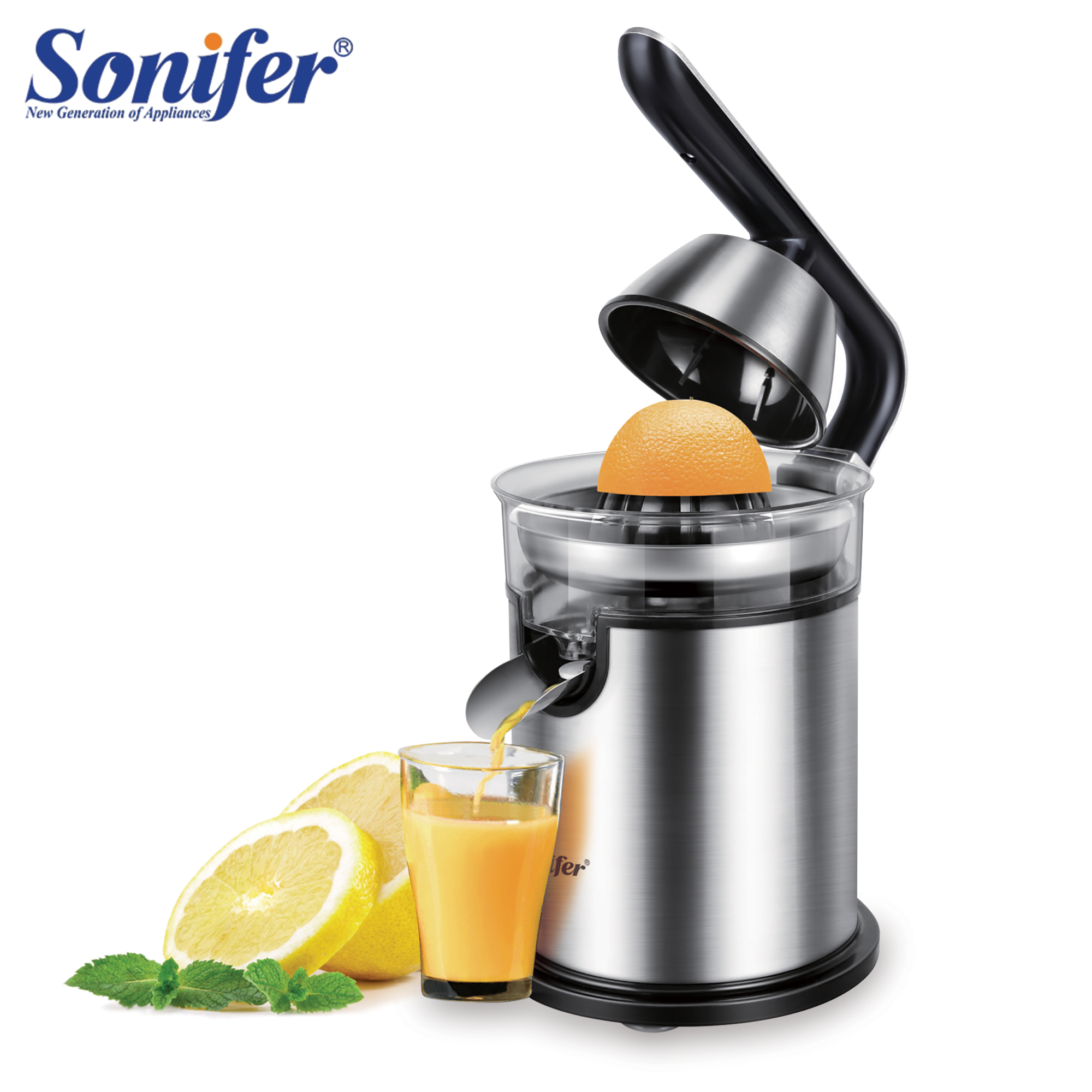 300W Lemon Citrus Juicer In Blender Stainless Steel Hand Pressed Household Electric Citrus Juicer Hand Orange Squeezer Sonifer