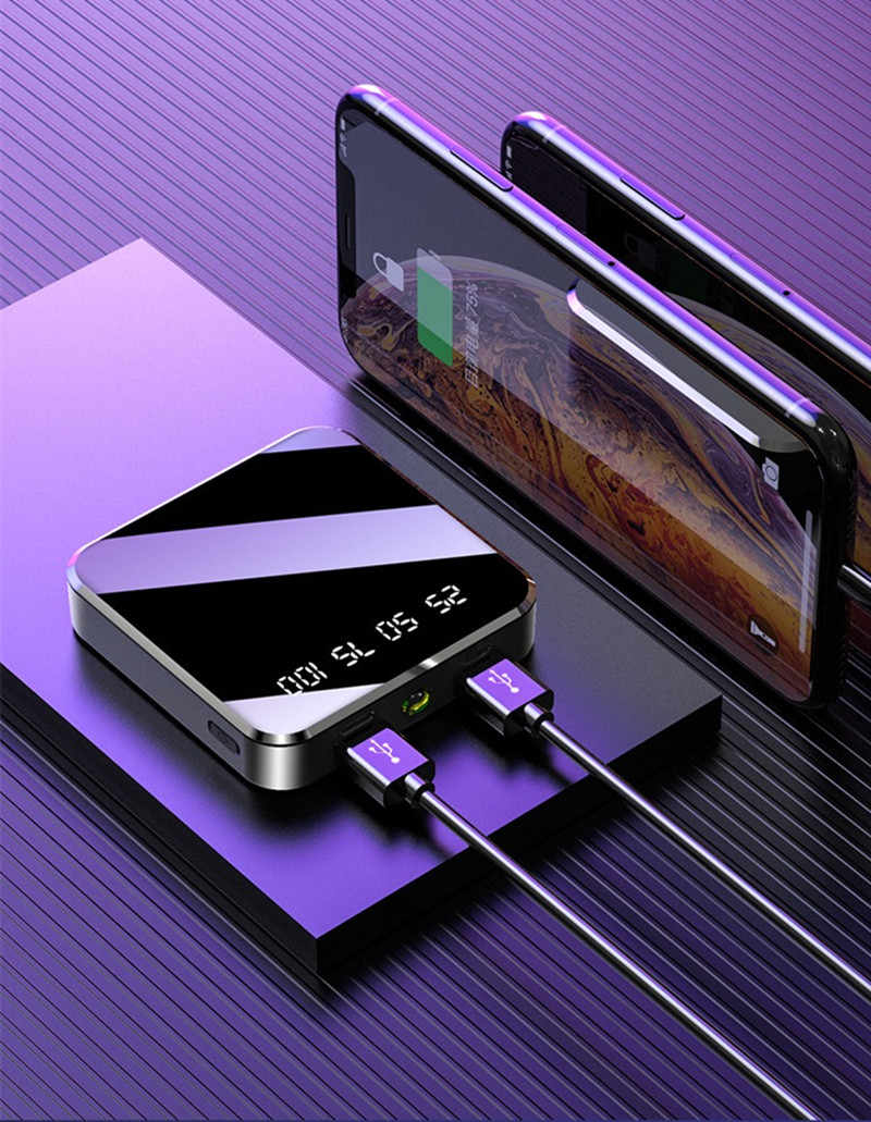 50000 M Ah Portable Mini Power Bank Cermin Layar Digital Disply Poverbank Kemasan Baterai Eksternal Powerbank untuk Smart Phone