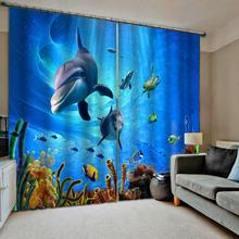 Customized 3D Blackout Curtains curtain blue oecan underwater curtains kids bedroom living room