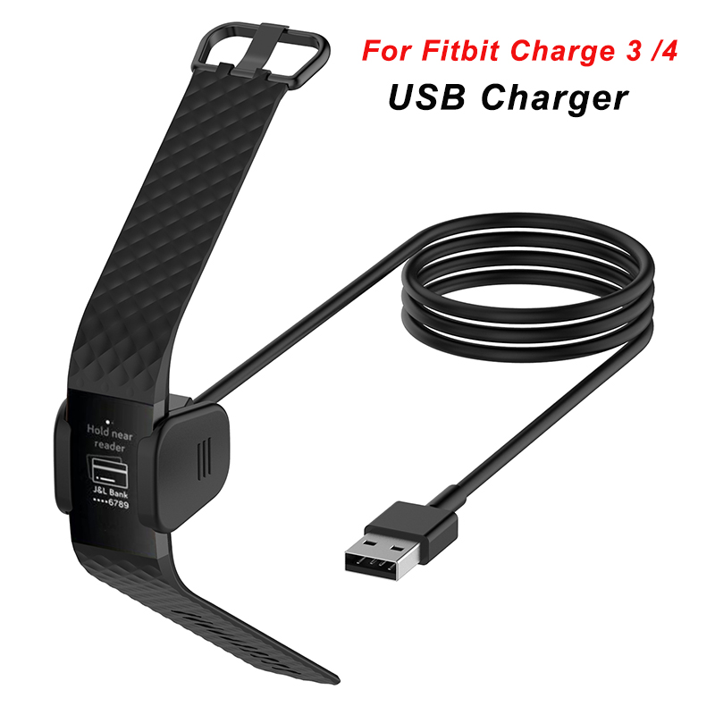 1M Watch Charger For Fitbit Charge 3 4 USB Charging Cable Charger 55CM Charging Cord Replacement Smart Watch Accessories