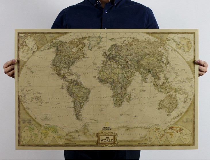 Vintage World Map Travel School Decoration Detailed Antique Poster Wall Chart Retro Paper Matte Kraft Paper Map DIY Post It