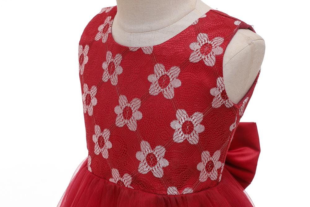 Flower Girl Dress Sleeveless Flowers O-Neck Kids Birthday Gowns First Holy Communion Get Together Dresses