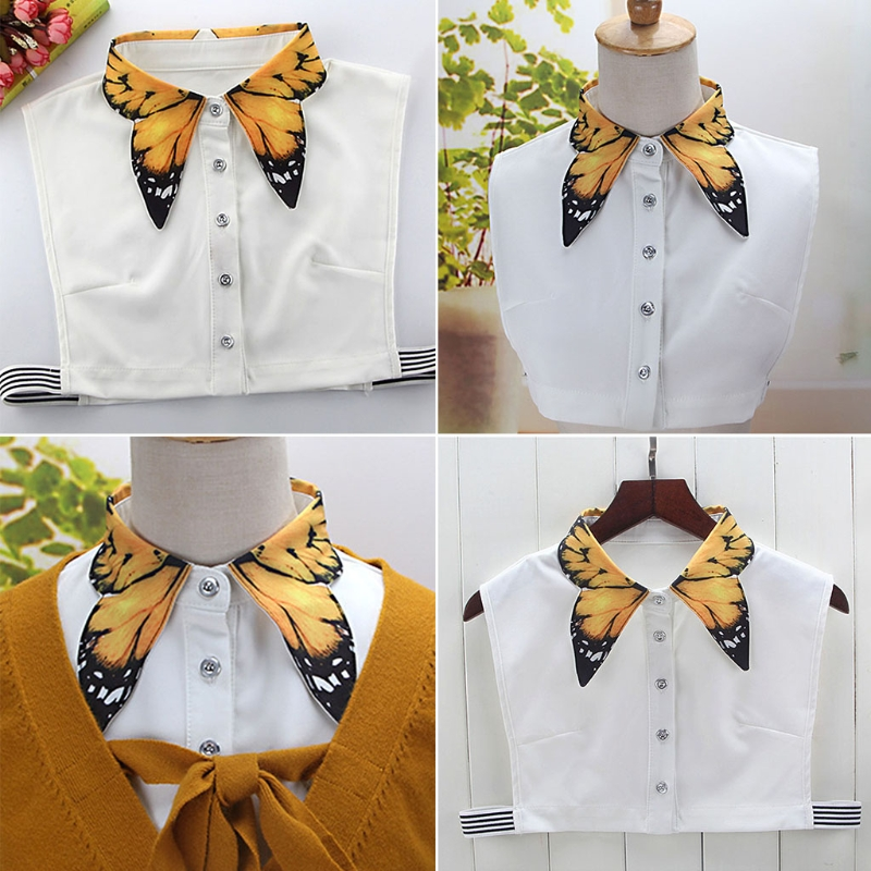 Women Pure Color Butterfly Printing  Lapel Choker Necklace Shirt Fake False Collar