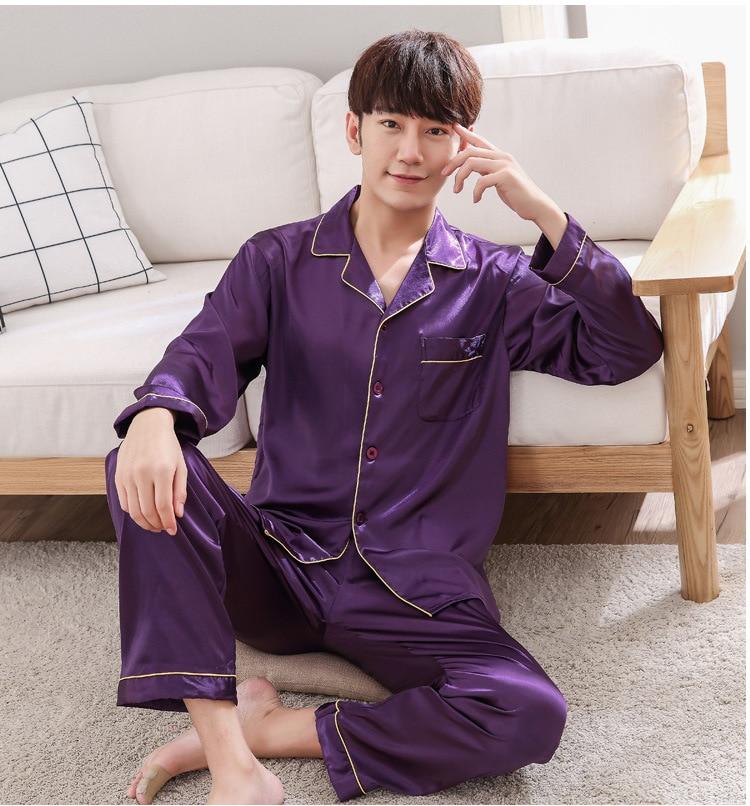 Purple Mens Nightwear 2pc Shirt Pants Sleep Pajamas Sets Sleepwear Spring Autumn Rayon Silk Nightgown Robe Clothes Size L - XXXL