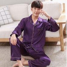 Mens Nightwear Sets Sleepwear Clothes-Size Silk Autumn Spring Rayon Purple 2pc Pants