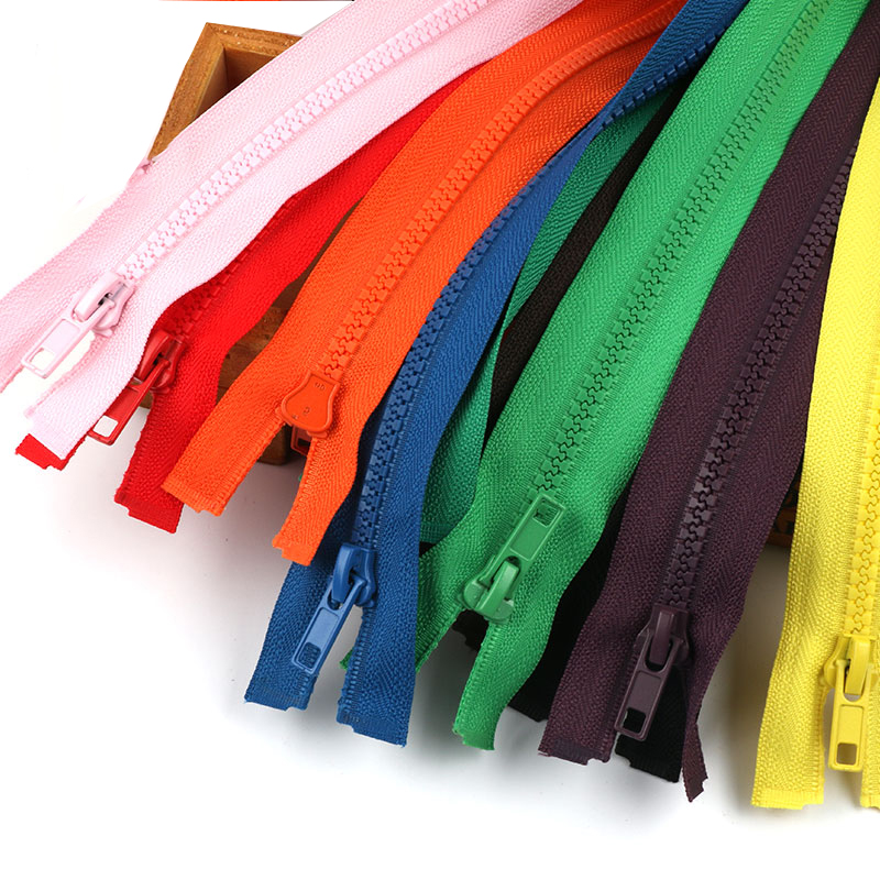 5Pcs 40-70cm long No. 5 resin Multicolor open tail zipper coat down jacket coat children's zipper clothes DIY Sewing accessorie