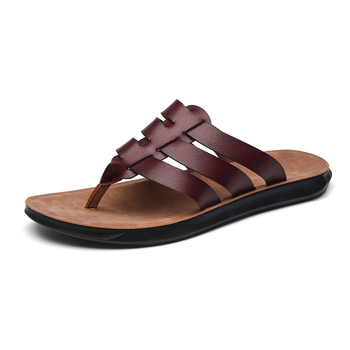 Men's genuine leather slippers Head Leather Sandals Classic Comfortable Male Slippers Summer men's slippers 2020 New