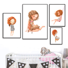 Nordic Canvas Painting Cartoon Cute Girl With Curly Hair Deer Flower Wall Art Picture Posters Prints Kids Room Home Decor
