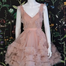 Cocktail-Dress Evening-Party-Dress Tulle Sleeveless Pleat V-Neck A-Line Simple for Girl
